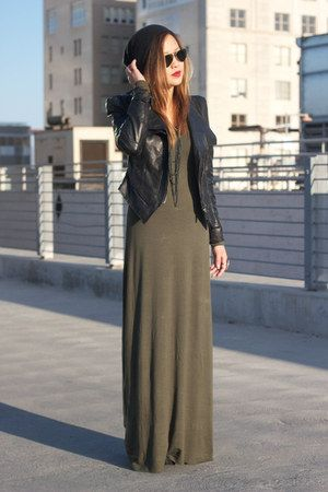 olive green maxi dress Forever 21 dress - black pu leather Ebay jacket