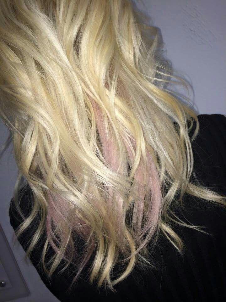 Pink Peek A Boo Highlights Pink Hair Blonde Wavy Hair