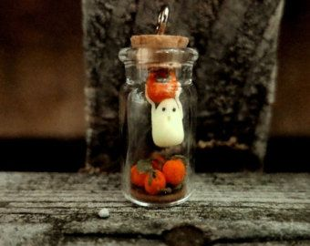 Miniature Ghost Bottle Charm Halloween Ghost Polymer Clay