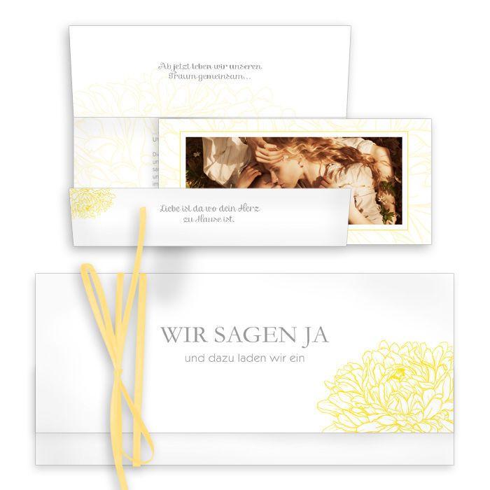Florale Einladungskarte als Wickelfalz, Amelie und Nils, narzissengelb - Carinokarten.de