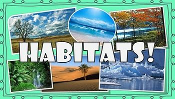 A PPT on animal habitats. It covers grasslands, deserts, polar regions, oceans, rainforests, and deciduous forests. For each there is a slide with the habitat name, facts, and pictures; a list of a bunch of animals that live in that habitat; two slides with (4) great pictures of animals that live in that habitat; and one slide with pictures and a list of plants that live in that habitat.