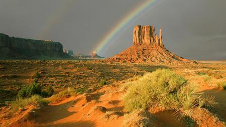 虹の彼方にモニュメントバレー 砂漠 自然 高解像度で壁紙