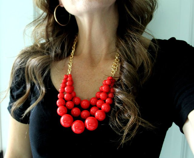 I made this necklace today and it is SUPER EASY! Hobby Lobby has got it all. The beads look red on this post, but they're actually coral color, which was even better for me!  LOVE this necklace!