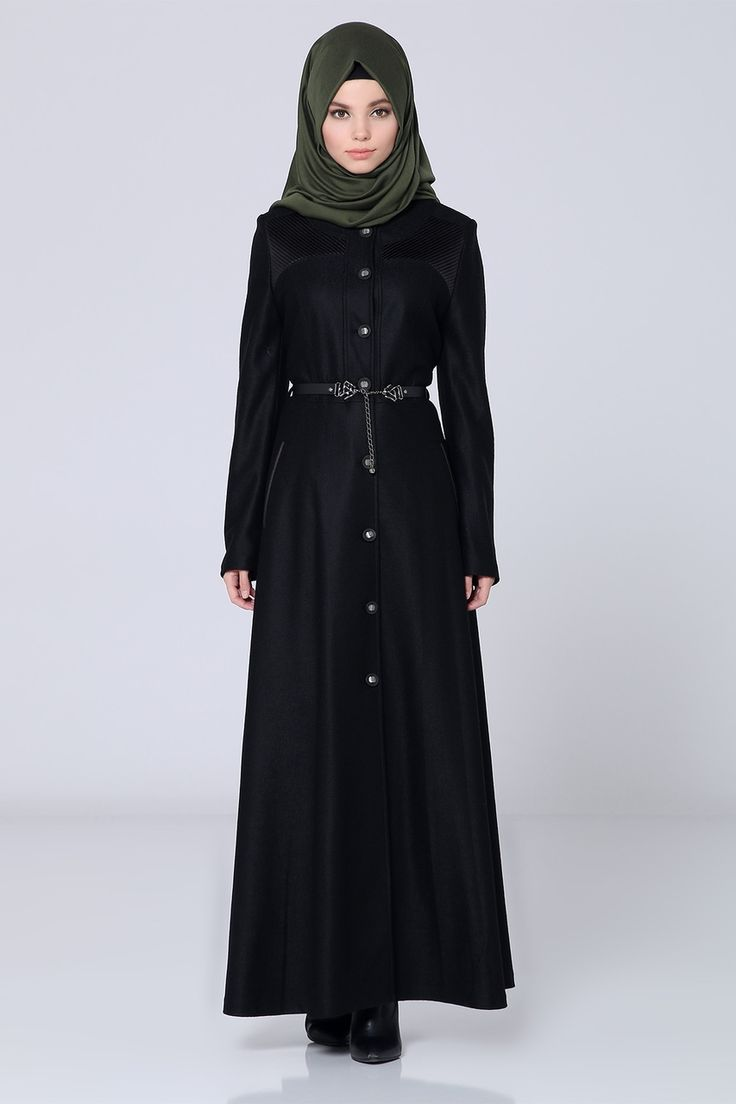 Long Black Turkish Abaya with Belt and Shoulder Detail