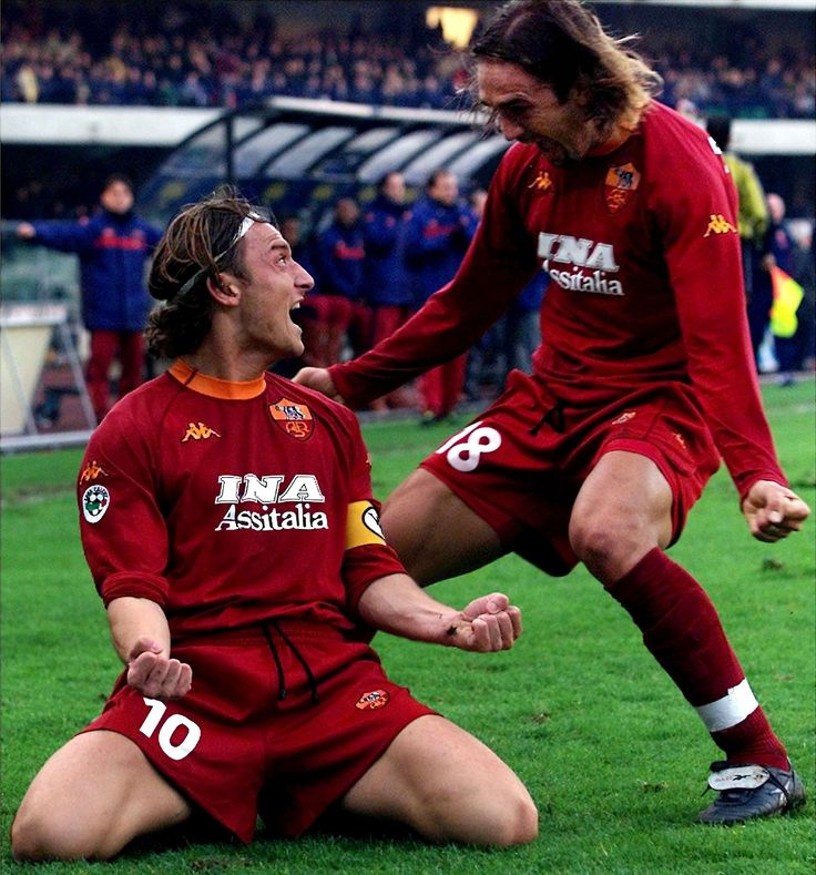 Gabriel Omar Batistuta with Francesco Totti
