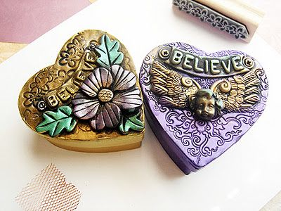 This is a 2 part tutorial, how to change paper mache boxes in to beautiful gift boxes. Uses paper mache heart boxes and polymer clay.