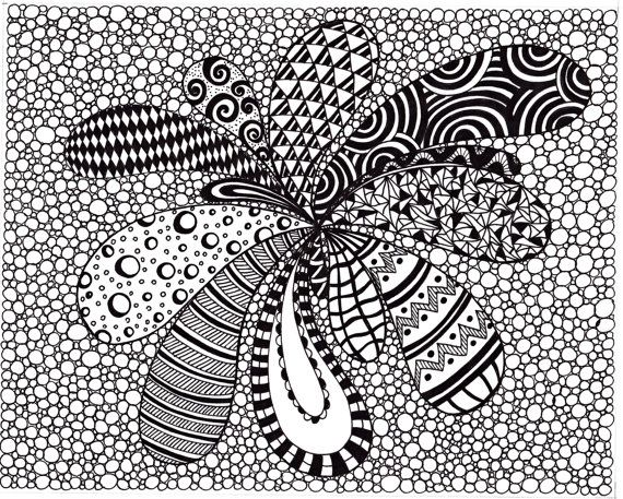 Zentangle Inspired Abstract Art print, Ink Drawing Zendoodle, Printable Art, Black and White, Instant download