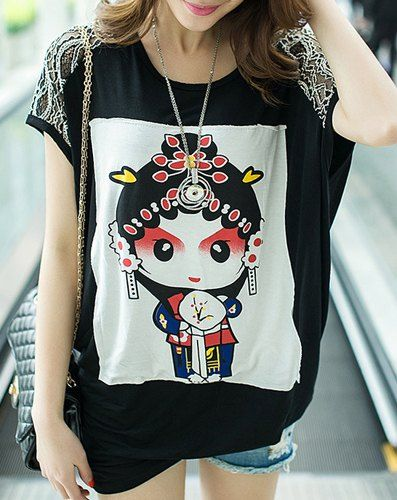 Casual Lace Scoop Neck Short Sleeve Splicing Doll Pattern Loose-Fitting T-Shirt For Women