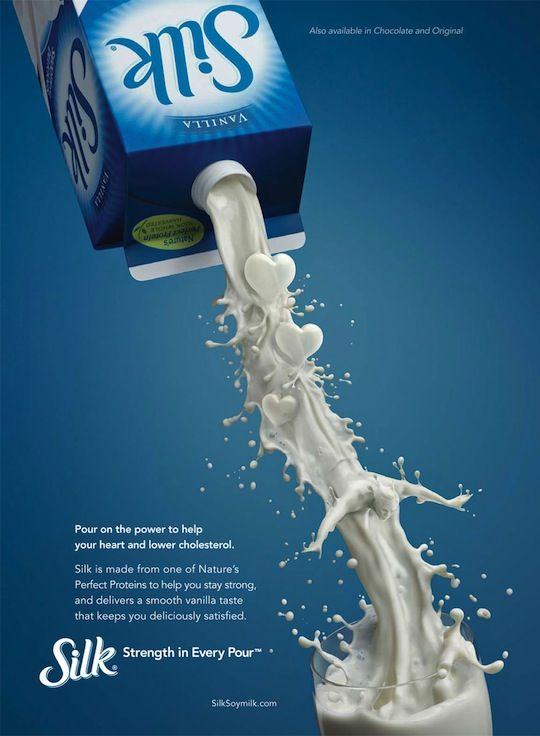 best clever print ads images ads creative  silk soymilk vanilla strength in every pour