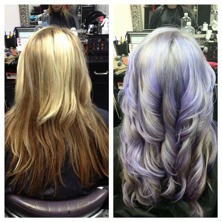 Before And After Silver And Purple Hair Highlights Hair