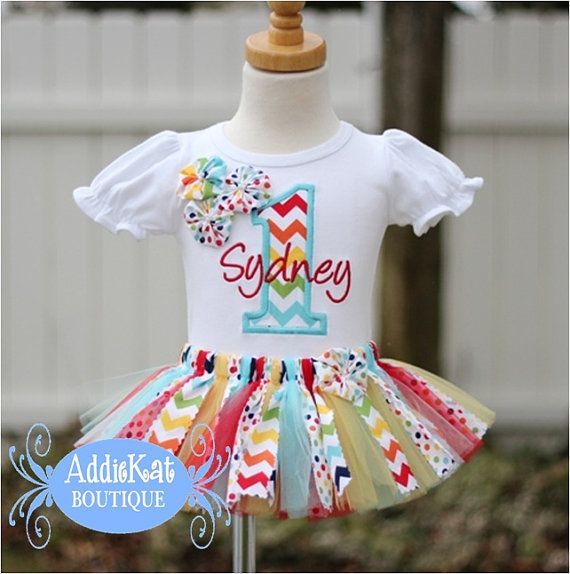 Personalized Rainbow Chevron and Polka Dots Rosette Birthday Shirt