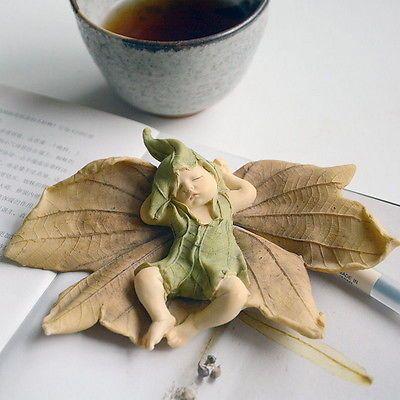 Miniatura De Resina hada bebé dormir en hoja espíritus elfo fantasía estatuilla obras de arte o