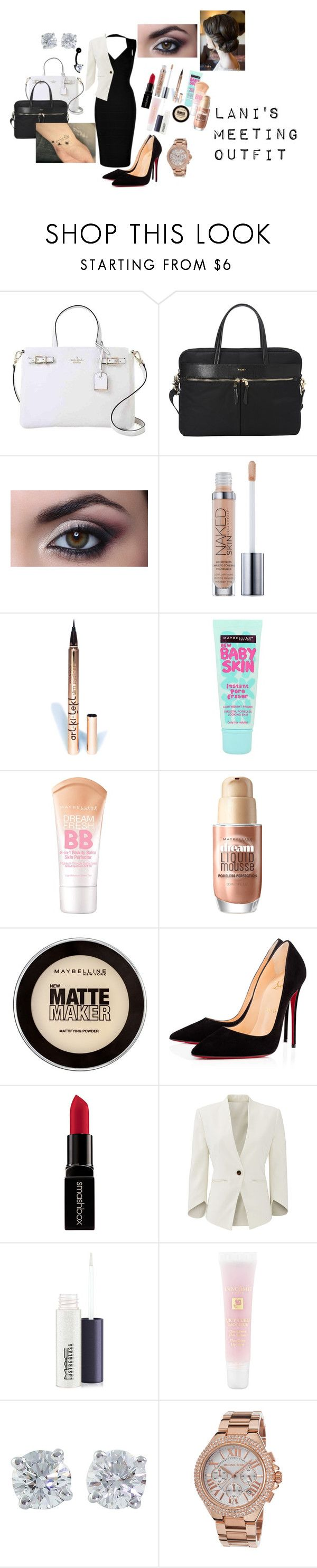 """""""Lani goes to a meeting"""" by huntress-383 ❤ liked on Polyvore featuring Kate Spade, Knomo, Urban Decay, LASplash, Maybelline, Christian Louboutin, Smashbox, Slate & Willow, MAC Cosmetics and Lancôme"""