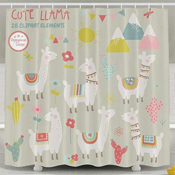Llama Bathroom Shower Curtain Waterproof Bath Decorations