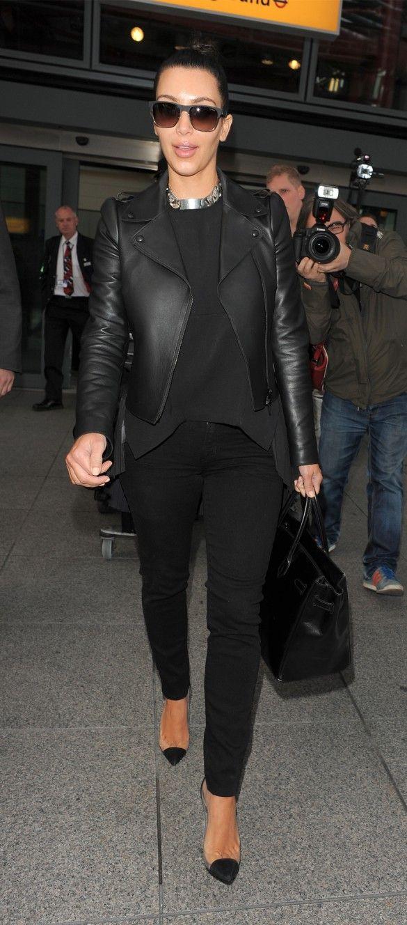 Black on black + leather coat + tucked tee + denim jean + louboutin see thru pump + black birkin bag