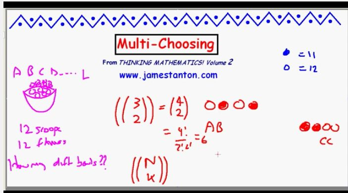 This video contains a great problem to have students complete as an extension to combination and permutation problems in Module 5.