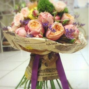 FlowWow! - Букет с прекраснейшими розами Д. Остина - цветы от всех флористов твоего города