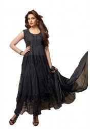 Designer black Net & Brasso Anarkali Suit Rs.699 on http://www.vendorvilla.com/