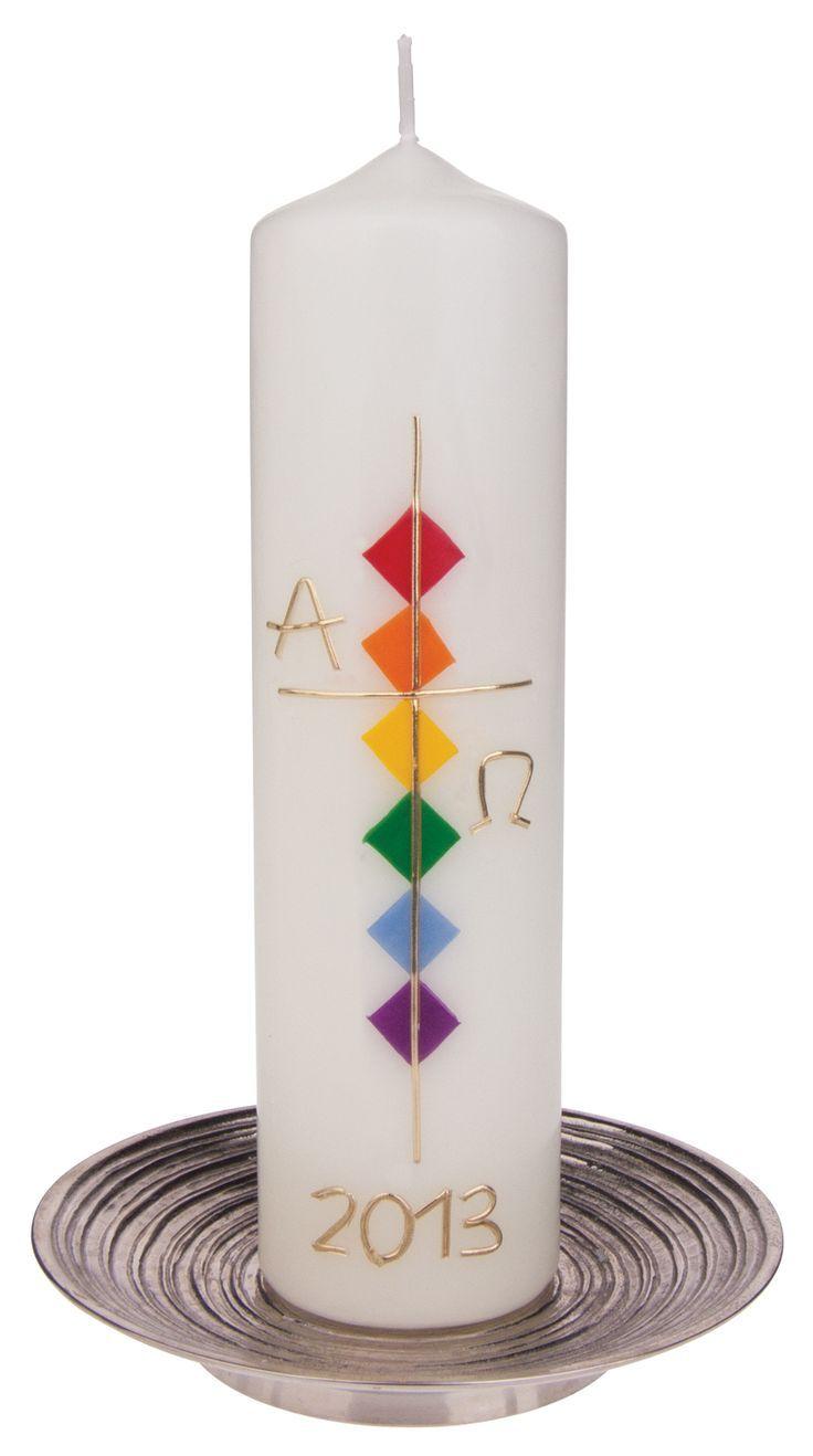 Osterkerze – Kreuz gold & Alpha Omega – #Alpha #Go…