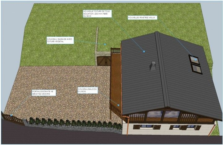 Chalet Les Pecles - New garage with green roof