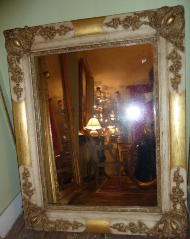Miroir ancien bois peint et dor 19 me for Restauration miroir ancien