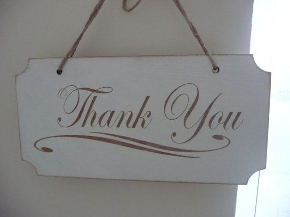 Shabby Chic Thank You Sign Wooden Wedding Sign Photo Prop by Crafu