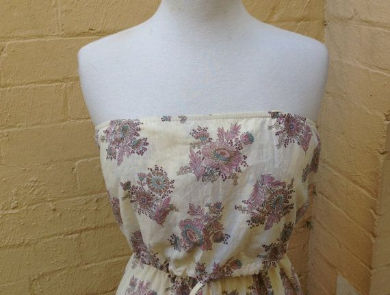 70's Sears Strapless Sun Dress size 8/10 US by PearlsVintageCloset