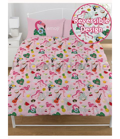 This Emoji Flamingo Reversible Double Duvet Cover and Pillowcase Set is made from a Polycotton blend. Free UK delivery available.