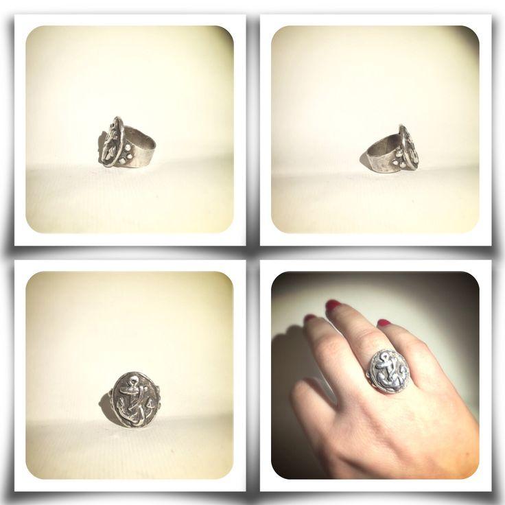 Anello con ancora.    #anello #ring #ancora #anchor #silverclay #handmade