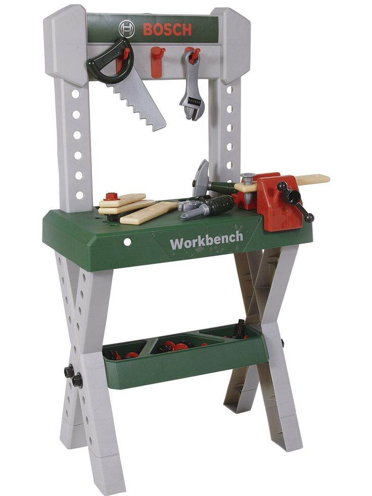 Bosch Bosch Workbench The toy Bosch Workbench looks just like the real thing, with shelves and hooks for the tools needed for a major repair job! The 32 accessories include a screwdriver, screws, hammer, spanner, vice, pliers, saw and much more.All accessories are made of sturdy plastic so they can cope with the knocks and bangs kids dish out to their favourite toys while your child is safe from sharp edges.Children love to explore the world by playing imaginative games based on the things…