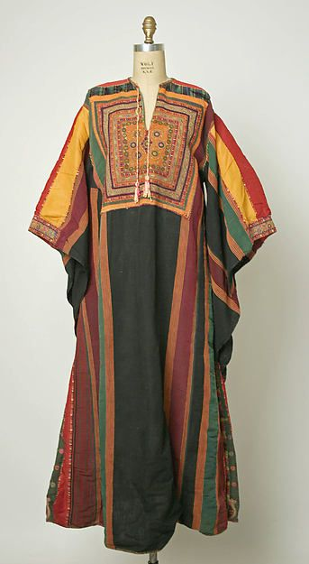 1910 Wedding dress, Middle Eastern (Palastinian), linen, silk, metal, The Met