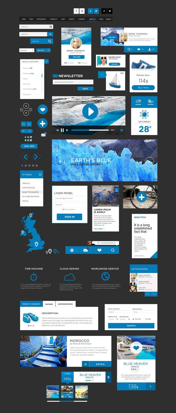 Freebie: The Flat Design UI Pack (PSD)