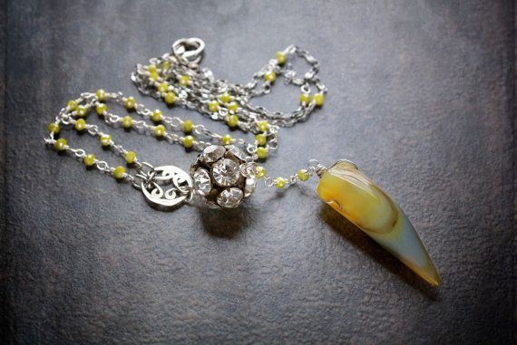 Boho agaat ketting geel grijs hoorn Talon Crystal rozenkrans