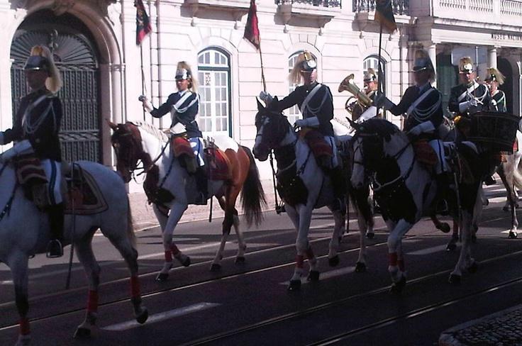 Portuguese equestrian guards outside Lisbon's coach museum
