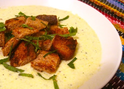 Chilled Summer Squash Soup with Yogurt, Mint and Sourdough Croutons