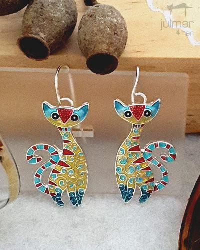 Fifi Cat Silver Earrings - Add a burst of brilliant colour to your day with these bold cat-shaped earrings exclusively designed by Julie Mammano. Crafted of alloys and plated with Silver, these colourful earrings have been hand-painted by talented artisans.