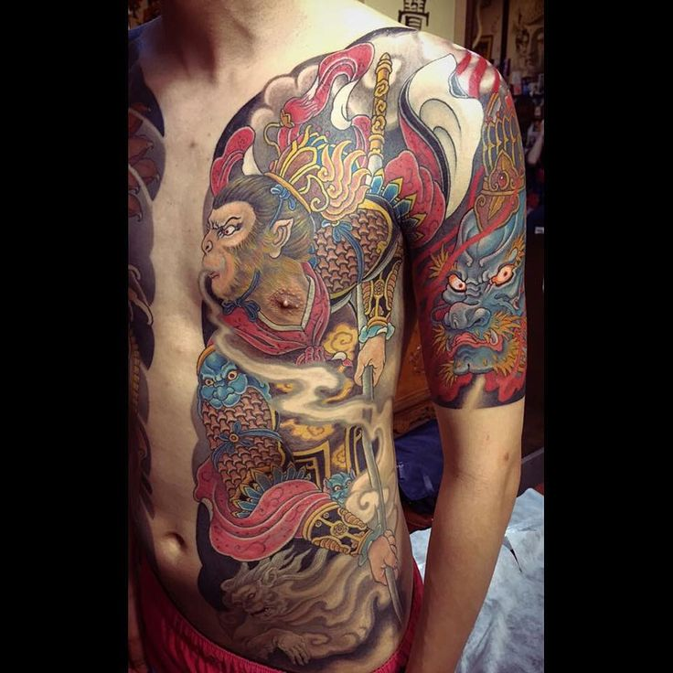Monkey king by @tattoohua .hua makes some of the best tattoos in the world, let alone Taiwan. Much love to all the crew @easttattoo ! #japanesecollective #japanesetattoo #taiwanesetattoo #irezumi #monkeykingtattoo #tattoomasters