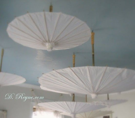 Paper Umbrellas Hanging From A Painted Blue Ceiling By