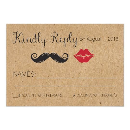 Simple, Rustic Wedding Reply Card