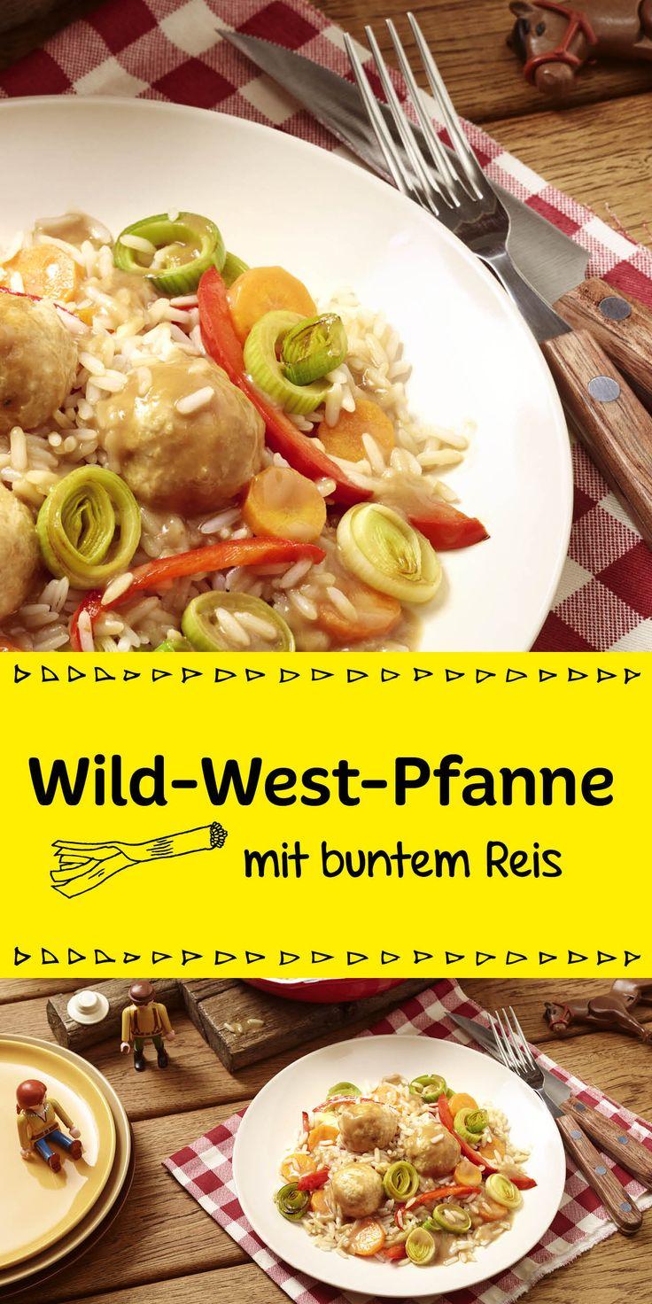 Wo sind all die Indianer?  Heute gibt es unsere beliebte bunte Wild-West-Pfanne mit Reis und Gemüse. Die Kinder werden begeistert sein und ihre Teller leer putzen.