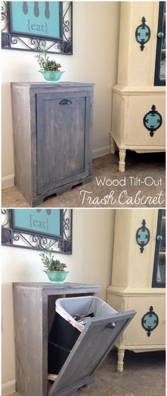 Our kitchen is very roomy, but as far as wanting my trash can out in the open, that is a no-go! So, something like this would be totally ideal. And then it's extra space for something on top, maybe a microwave? :)