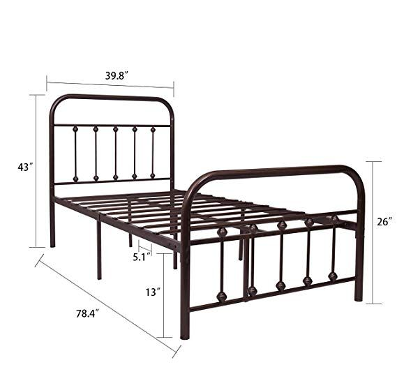 Amazonsmile Temmer Reinforced Metal Bed Frame Twin Size With Headboard And Stable Metal Slats Boxspring Replac Twin Bed Frame Platform Mattress Mattress Bases