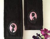 Embroidered hand towels bride and groom