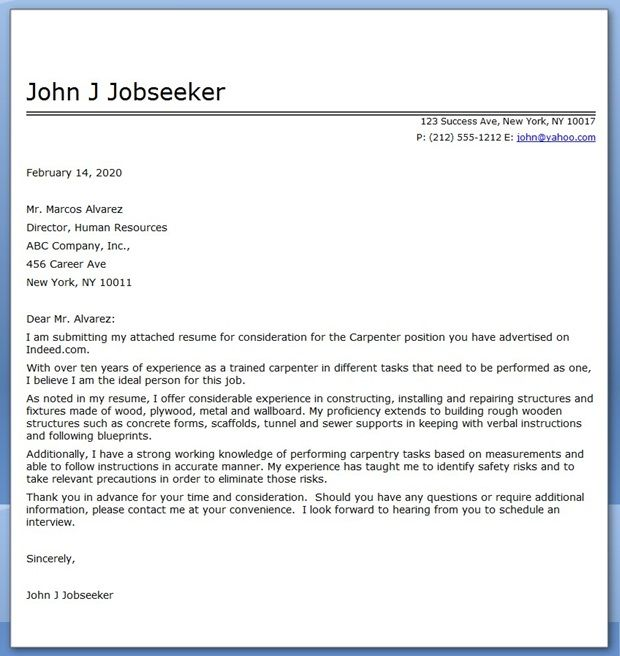 Great Carpenter Cover Letter For Resume
