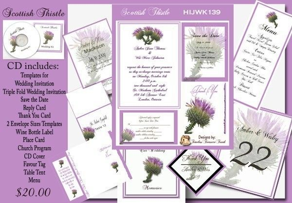 Delux Scottish Thistle Wedding Invitation Kit on by Printnthings, $25.00