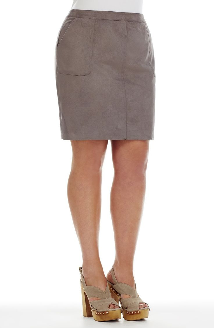 Mock Suede Skirt - donkey -  Style No: T1495 Loose oversize top. This top has a White Panel at the top on the front and back. It has a contrasting Black Pane at the bottom. It has drop shoulder short sleeves and a placket front opening at the neckline. #plussize #fashion #dreamdiva #dreamdivafiles