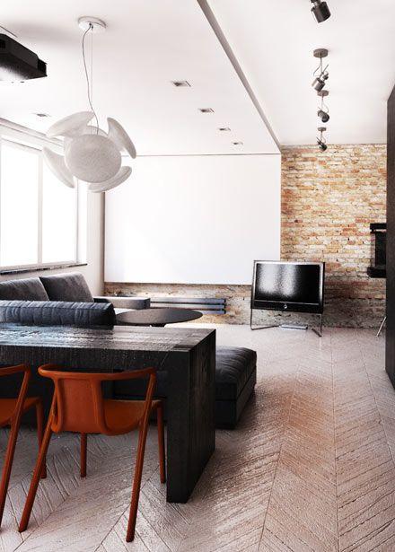 Living room design with dining space design in flat in POLAND - archi group. Pokój dzienny z jadalnią w mieszkaniu.