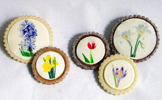 Painted plaque on cookieSpring Flower, Clever Cookies, Monograms Cookies, Decor Wedding Cookies