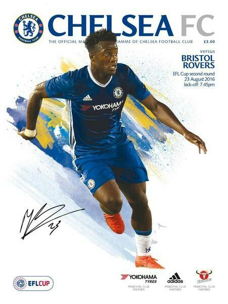 Chelsea 3 Bristol Rovers 2 in Aug 2016 at Stamford Bridge. The programme cover for the League Cup 2nd Round tie.