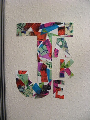 letters for their names with painted paper?